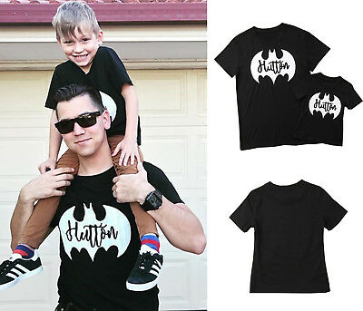 New Family Matching Outfits Batman T-shirt Clothes Papa Kids Boys Baby Tee Tops