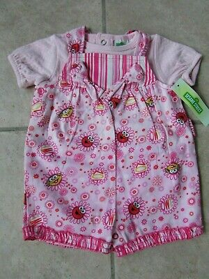 be1598272 Sesame Street Infant Baby Girl Outfit Size 0-3Months Overall Shorts NWT
