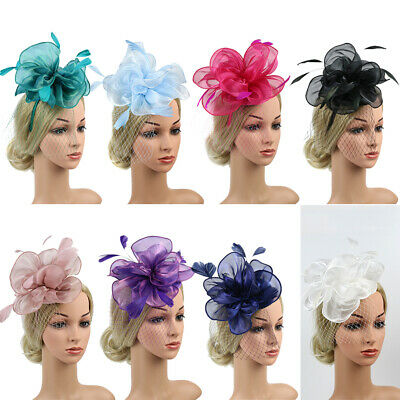 AU Fashion Women´s Feather Headdress Mesh Flower Cocktail Hat Party Hairband