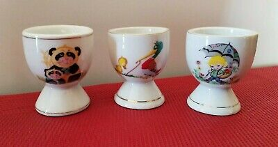 Collectable Novelty Kid's Ceramic Egg Cups x Three