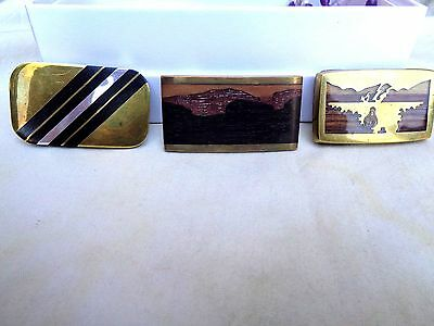 Lot of 3 vintage handcrafted belt buckles petrified wood inlay overlay brass Jet