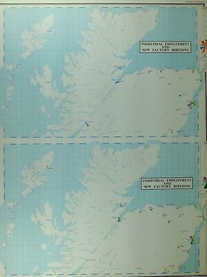 Vintage Large Map Northern Scotland Industrial Employment New Factory Building
