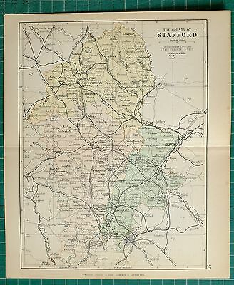 1882 Small Antique County Map Stafford Stoke Upon Trent Potteries Wolverhampton