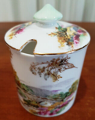 Shelley China Heather Condiment Mustard Pot / Jar with Lid