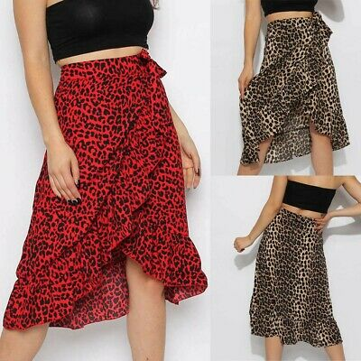 Womens Ladies High Wrap Skirt Tie Bow Ruffle Hem Leopard Frill Wrap Midi Skirt