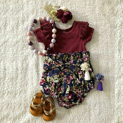 AU Summer Newborn Baby Girl Tops Romper Bodysuit Clothes Flower PP Pants Outfits