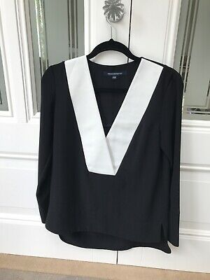 Ladies French Connection black and white top size 8