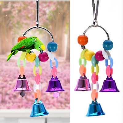 Bird Parrot Toy Hanging Swing Cage Rope Pet Chew Bell Feeder Parakeet Budgie FB