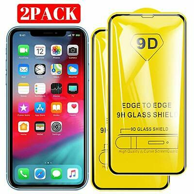 2PACK For iPhone X XS MAX XR 9D Full Cover 9H Tempered Glass Screen Protector