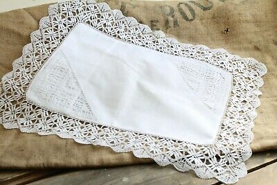 Antique Lace White Cotton Baby Child Pillowcase Victorian C.19th Exquisite