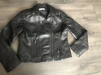 d0fc3bf6f DEBENHAMS GIRLS BLACK Faux Leather Biker Jacket Age 8 Good Condition