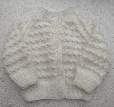 Hand Knitted baby cardigan In White 0-6 Months