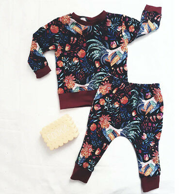 save off 9878f e6289 Toddler Kids Baby Girl Clothes Floral Sweatshirt Tops Pants Tracksuit  Outfit Set