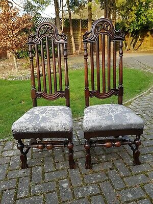 Pair of Late 17th Century High Back Chairs Queen Anne William Mary