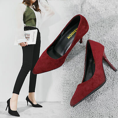Women Stiletto High Heels Pointed Toe Ladies Faux Suede Party Office Court Shoes