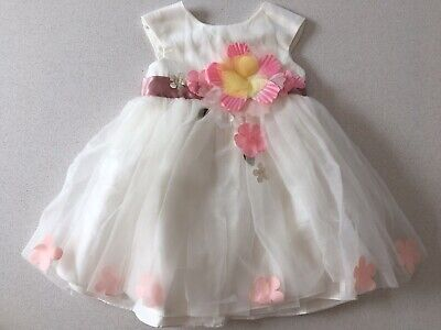Monsoon Girls Baby Dress Age 6-12 Months Party Bridesmaid  Flower Girl Ivory NEW