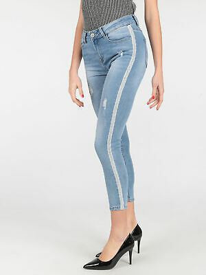 Jeans push up con strisce laterali Donna pantaloni casual  00041145