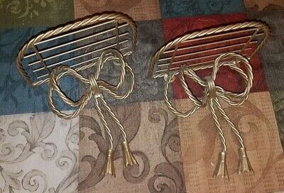 CHARMING Vintage Pair Of Gold TWISTED Grated BOWTIE Wall Display Shelves!