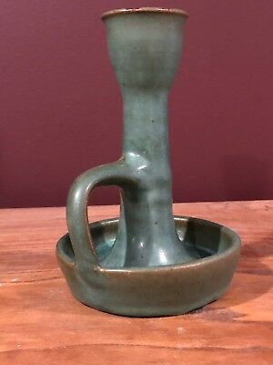 Waco Kentucky Pottery Co Arts & Crafts Mission Matte Green Candle Holder Stick