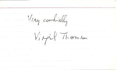 "Virgil Thomson, American Composer/Critic Signed 3"" x 5"" Index Card with COA"