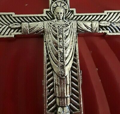 LRG Sterling Silver Plated Unusual Vestment Priest Crucifix Cross Unique Pendant