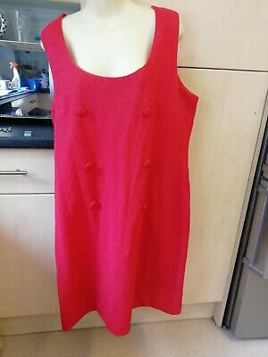 """RETRO vintage red tunic dress funky embossed material Button trim 60""""s CHEST 42"""""""