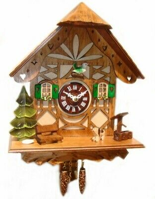 NEW Quartz Cuckoo Or Westminister Clock With Green Accentsin Light Wood