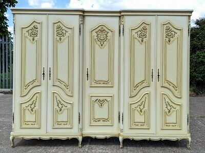 Louis XV Style Vintage French Carved 5 door shabby chic  Armoire Wardrobe
