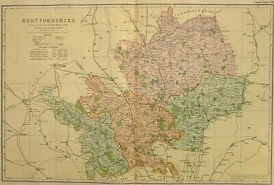 1896 County Map Hertfordshire Hatfield Ware Stevenage Hitchin Baldock Hoddesdon
