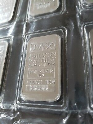 1 Oz Johnson Matthey (Logo Rev) 999 Fine Silver Bullion Bar Sealed (Not Gold)
