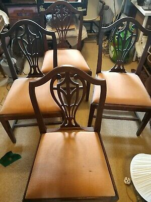 4 Hepplewhite Mahogany Dining Chairs Genuine Georgian Georgian Dining Chairs