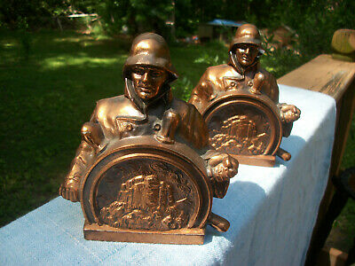 2 Vintage Pilot Life Insurance Co. Bronze Finish Metal Coin Banks / Bookends