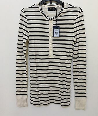Polo Ralph Lauren Women's Striped Cotton Blend Henley British Black
