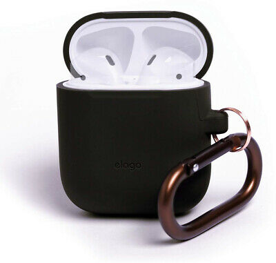 Elago AirPods Hang Case [Black] - [Compatible With Apple AirPods 1 and 2; Front