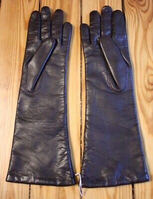 NWOT Bloomingdale's 6.5 S Dark Brown Butter Soft Long Italian Leather Gloves