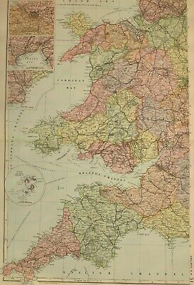 1896 County Map England & Wales South West ~ Bristol Swansea Cardiff Somerset