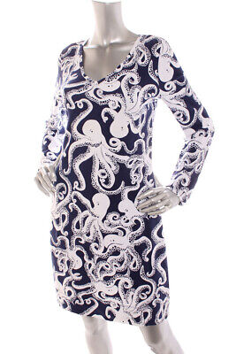 46a1c3ca2b72d6 NEW Lilly Pulitzer Women (2) Octopus Print Stretch Soft Shift Dress Navy  White M
