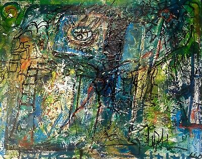 Abstract Extremely Textured Layered Painting Informel LW Jeffrey