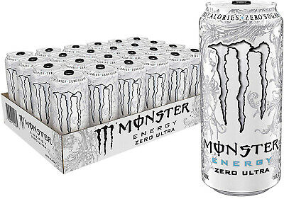 Case 24 pack Monster Energy Zero Ultra, Sugar Free Energy Drink, 16 Ounce