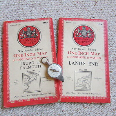 two antique Ordnance Survey maps of Land's End, Truro & Falmouth + map reader