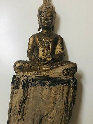 Antique Chinese Imperial Gilt-lacquered Wood Figure Of A Buddha Shimma