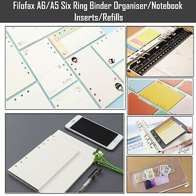 Filofax A5/A6 6 ring binder Planner paper Inserts Refills Organiser ruler pocket