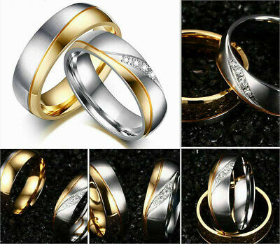 18K Gold Plated CZ Stainless Steel Couple Ring Men/Women Wedding Band Sz 5-13