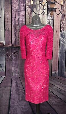 JOHN CHARLES Stunning Hot Pink Lace Dress UK 10 Wedding Guest/Special Occasions