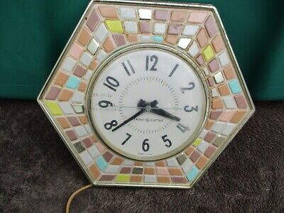 Vintage General Electric Kitchen Wall Clock Mosaic Tile Hexagon Retro MCM 2118