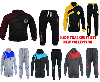 New Kids Tracksuit Set Fleece Hoodie Top & Bottoms Joggers Boys Girls Sports Hnl