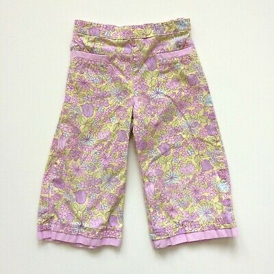 Hanna Andersson 100 Sz 4 Girls Capri Cropped Pants Pink Purple Green Floral