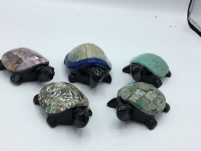 Handcrafted  Carved Sea Turtle Family Set of 5 BEAUTIFUL Turtles!