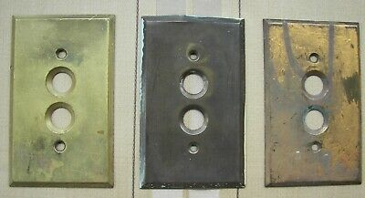 Lot of 3 Vintage Antique Push Button Switch Brass Beveled Wall Plates