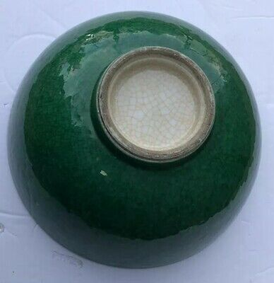 Antique Chinese Imperial Period Large Crackle Glazed Emerald Green Jade Enamel